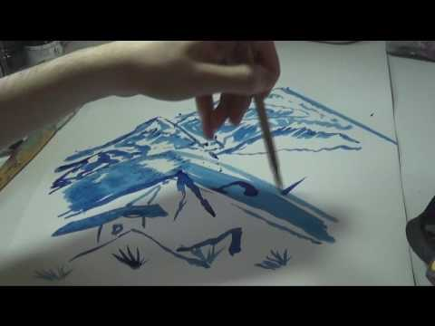 How to paint a landscape with chinese ink ~Moonlight Sonata~