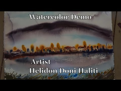 Watercolor Demonstration tutorial speedpaint Aquarell landscape painting technique how to paint