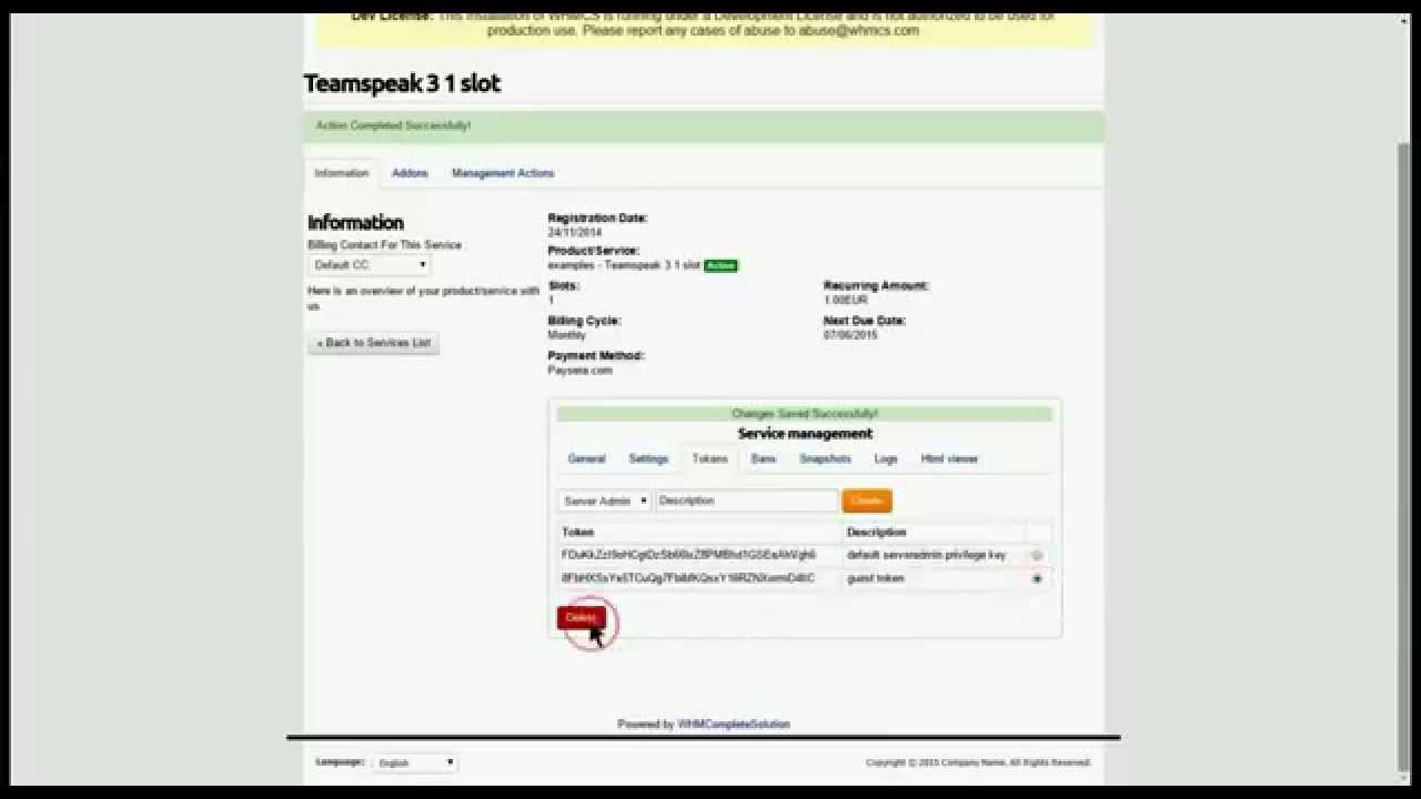 Teamspeak 3 whmcs addon client area - YouTube