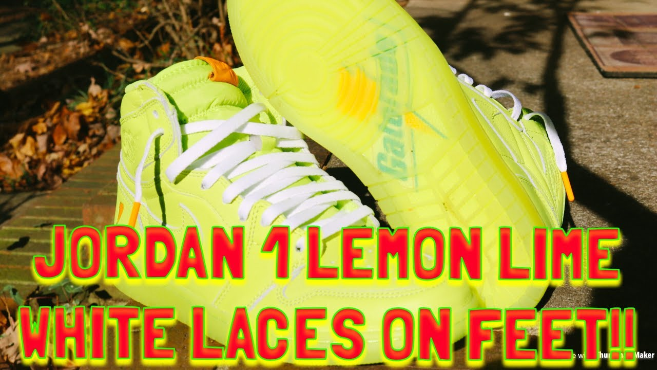 c04ebb72b7333b JORDAN 1 GATORADE LEMON LIME WHITE LACES ON FEET!! - YouTube
