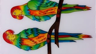 Glass painting of Parrots