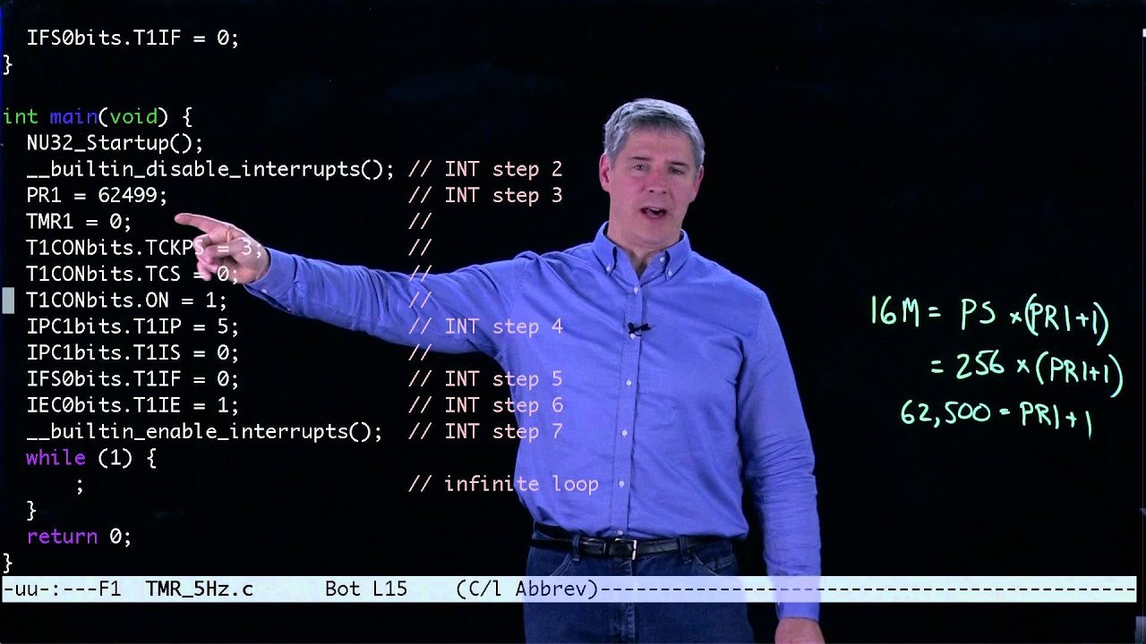 Example PIC32 timer interrupt program (Kevin Lynch)