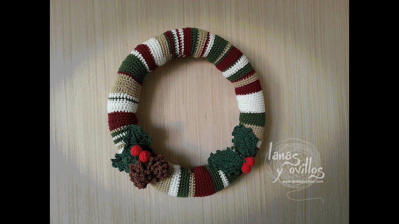 Tutorial corona navide a crochet o ganchillo paso a paso - Coronas de navidad ...