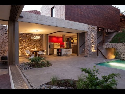 modern house design with rustic