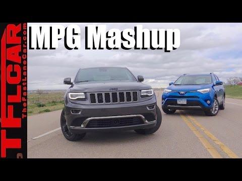 Hybrid vs Diesel: 2016 Jeep Grand Cherokee vs Toyota RAV4 Hybrid 0-60 MPH & MPG Mashup Review
