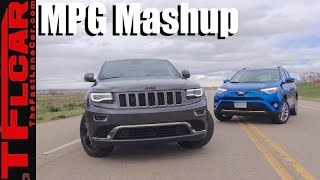 Hybrid vs Diesel: 2016 Jeep Grand Cherokee vs Toyota RAV4 Hybrid 0-60 MPH & MPG Mashup Review
