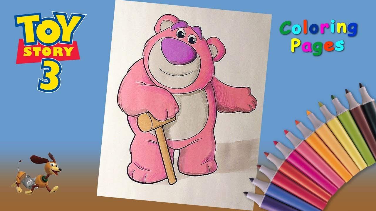 Coloring Bear Lotso From Toy Story 3 Toy Story 3 Coloring Pages For Kids Youtube