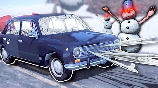 BUILDING A ZOMBIE SNOWMAN SURVIVAL CAR! - The Long Drive Gameplay