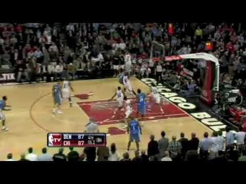 "Brad Miller Buzzer Better Shot  ""almost"" No Good  Chicago Bulls vs Denver Nuggets"