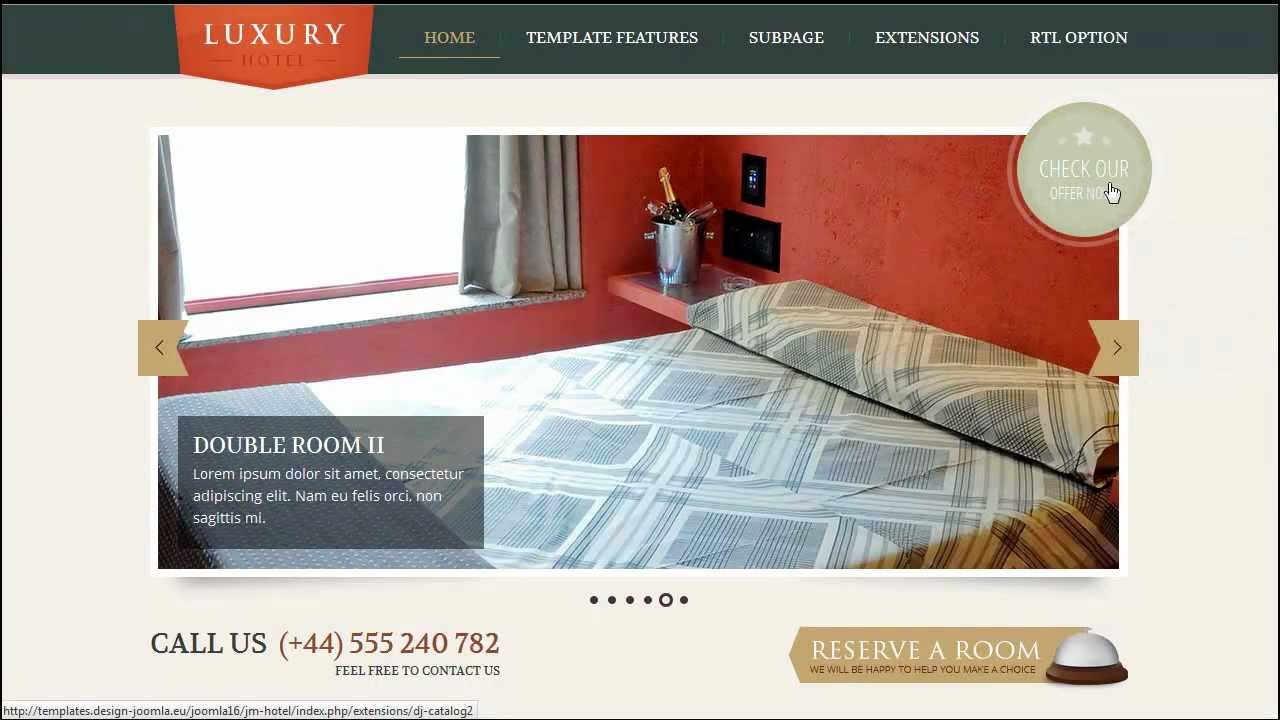 Joomla 3 x jm hotel responsive template youtube for Joomla hotel template