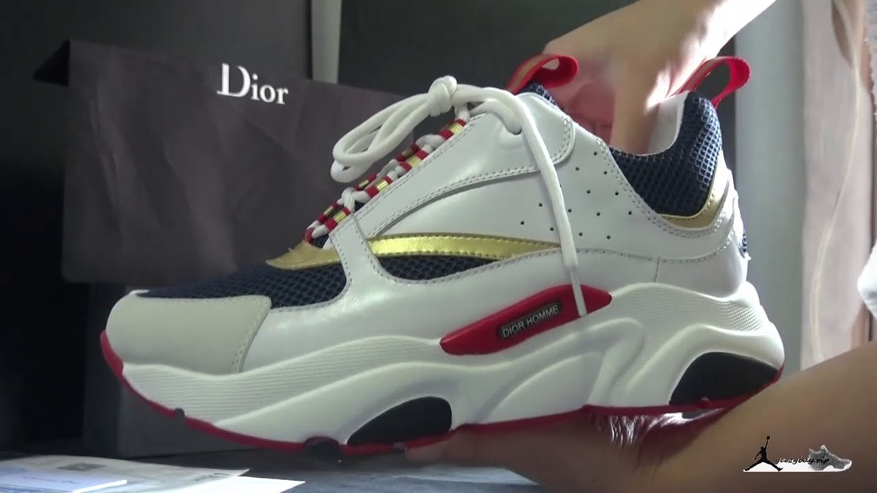 the best attitude a1ee6 11cec DIOR Homme B22 Trainer Sneaker White Blue Red