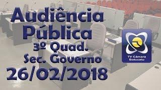Audiência Pública 26/02/2018 - Prestação de contas