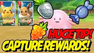 CAPTURE REWARDS LEAKED! EASY RARE CANDIES and MORE in Pokemon Let's Go Pikachu and Eevee!