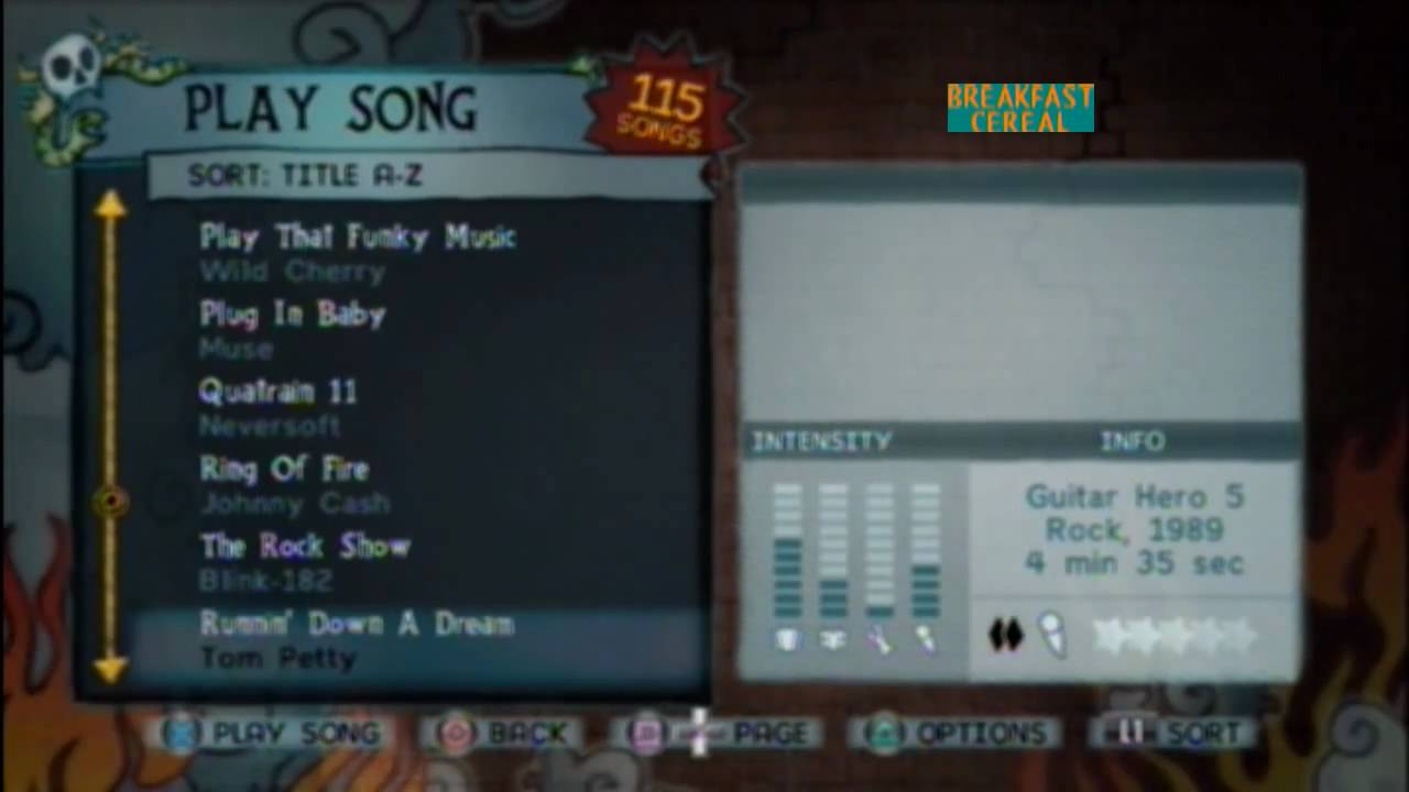 guitar hero 5 song list with previews of each song and