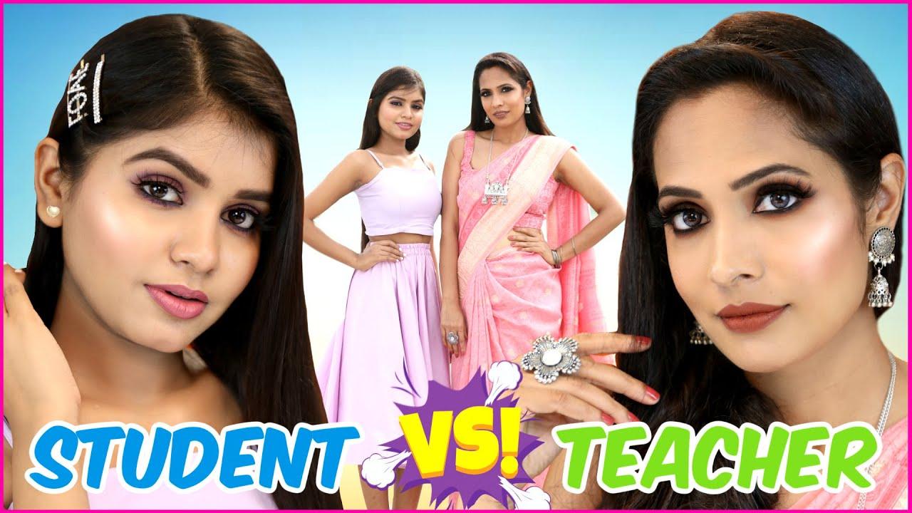 BEAUTY BATTLE - Teacher vs Student Makeup - Step By Step Tutorial | Anaysa
