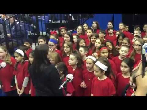 "Baylis Elementary School singing ""God Bless America"" at Islanders vs. Flames - 2-27-2015"