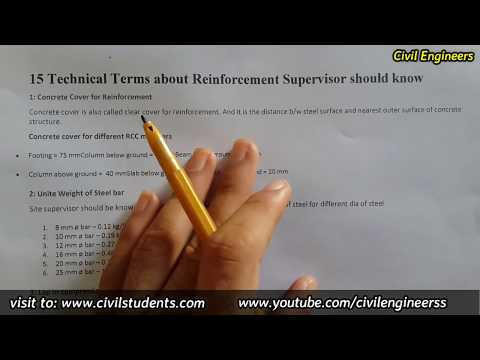 15 Technical terms for Reinforcement Site Supervisor must know