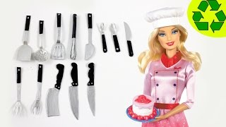 How To Make Doll Realistic Kitchen Utensils / Cutlery - Spoons, Forks, Knives, Spatula,
