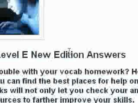 Vocab Level E Answers