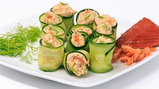 Salmon Cucumber Roll Up | Fast and Easy Low Carb and Keto Recipes