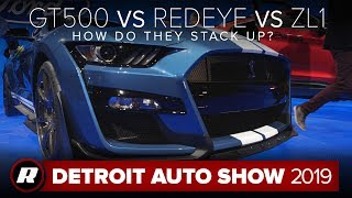 Mustang Shelby GT500 vs. Challenger Redeye vs. Camaro ZL1: How do they stack up? | Detroit 2019