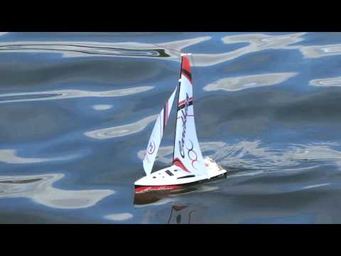 Sailing on Lake Gruyere Tiny RC Sailboat Joysway Caribbean