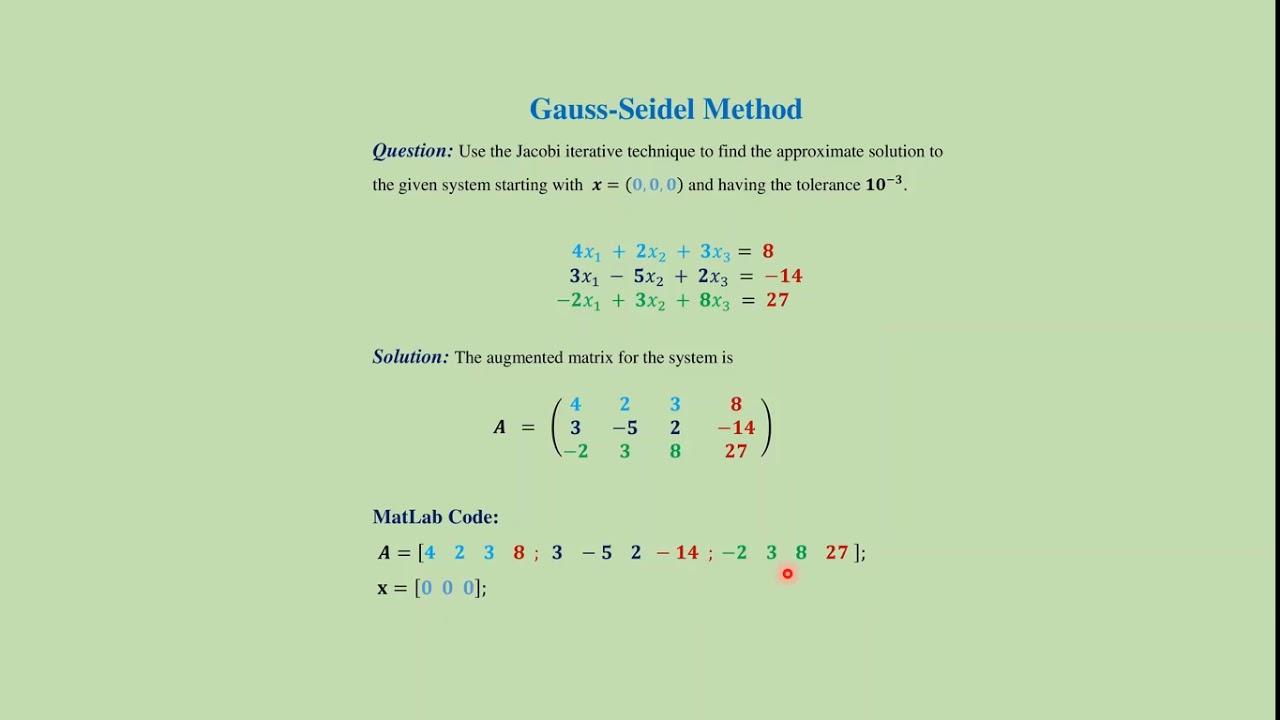 Gauss-Seidel method: MatLab code + download link