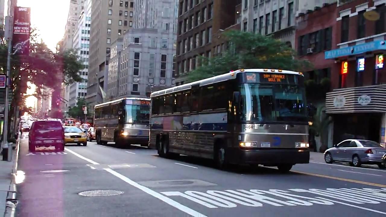 mta bus : mci d4500cl 3464 & 3016 on the qm1a & qm2 @ 57th street