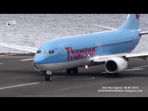 Decolagens E Aterrissagens De Aviões Ao Extremo Potência Máxima Aeroporto Madeira