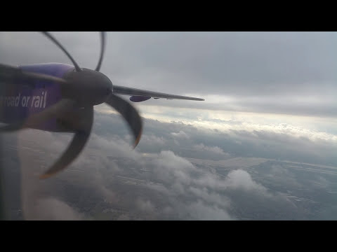 FlyBe Dash 8-400 takeoff London City to Cardiff Wales
