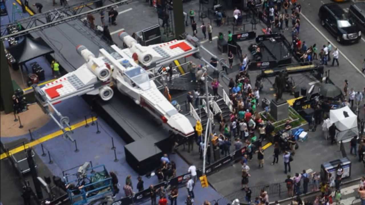 x wing largest ever lego model unveiled in times square youtube