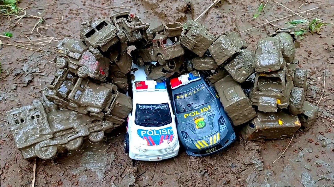 🔴membersihkan mobil mobilan excavator mobil polisi truk gandeng kereta api tayo mobil balap loader