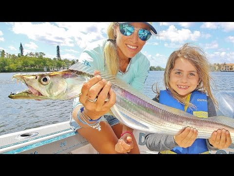 Little Girl Catches Big Scary Fish!