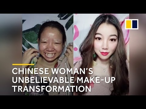 Chinese woman's unbelievable make-up transformation - YouTube