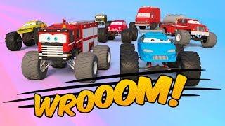 Fire Truck Team vs Monster Truck Team | Monster Trucks for Kids | Car Challenge 3d | Kids Video