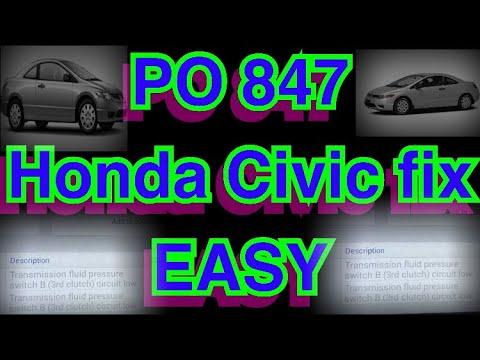Honda Civic po 847 pressure switch B third clutch. Green light flashing. Easy fix