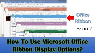 Office Ribbon Display Options - Microsoft Office 2019 Tutorial - Lesson 2