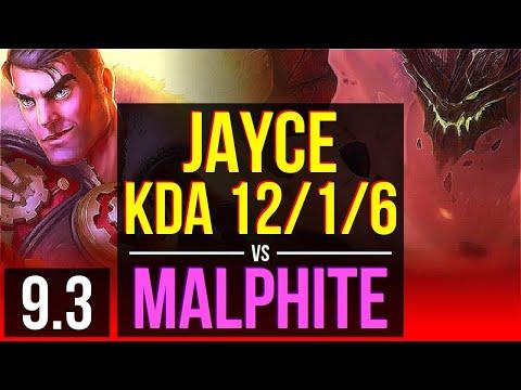 JAYCE vs MALPHITE (TOP) | KDA 12/1/6, 2 early solo kills, Legendary | Korea Grandmaster | v9.3