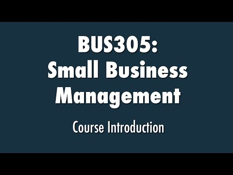 Small Business Management Course Introduction