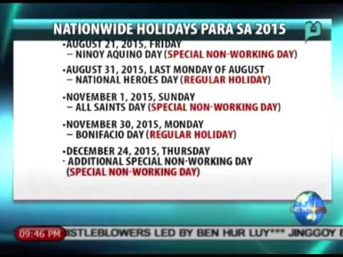 NewsLife: Palace releases list of holidays for 2015 || July 23, 2014