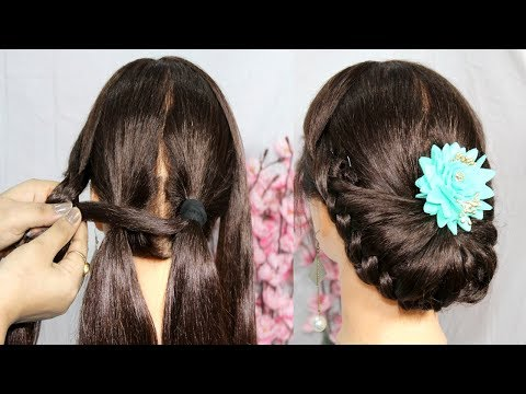 New latest Bun Hairstyle for wedding with trick | bun hairstyle | Easy hairstyles | cute hairstyle thumbnail