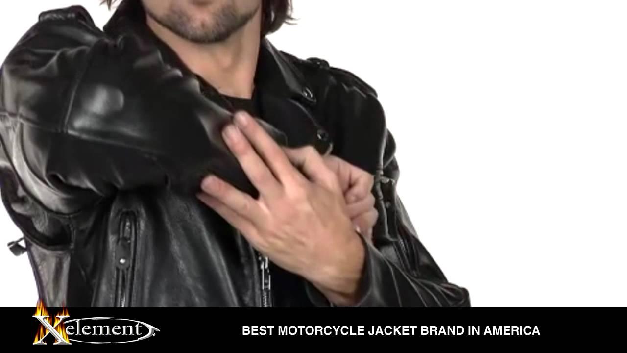 Xelement Men S Black Buffalo Leather Armored Classic Biker Jacket