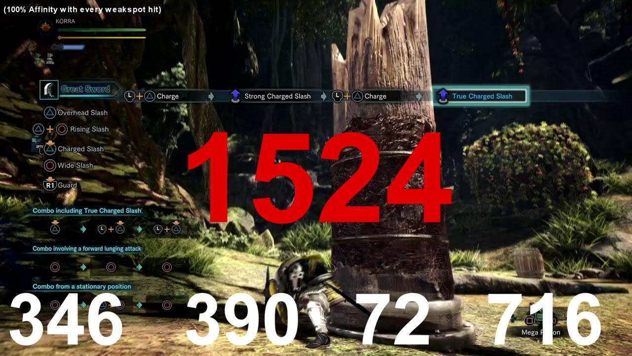 Monster Hunter World   BEST GREAT SWORD - DAMAGE TEST (1524 TOTAL DMG 100%  AFFINITY) JAGRAS HACKER 3