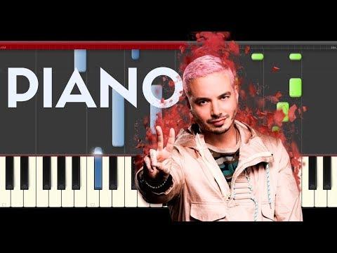 J Balvin Ahora Piano Midi tutorial Sheet app Cover Karaoke