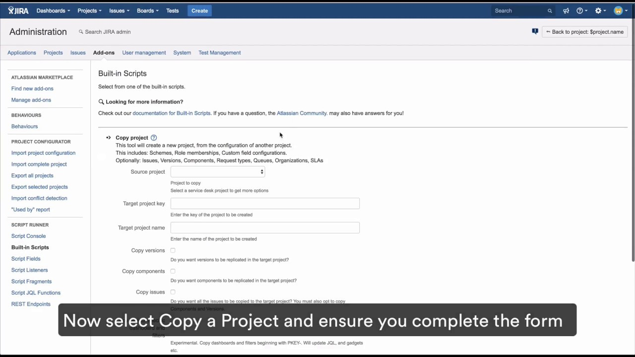 How-to: Copy a Project Script - ScriptRunner for Jira Server