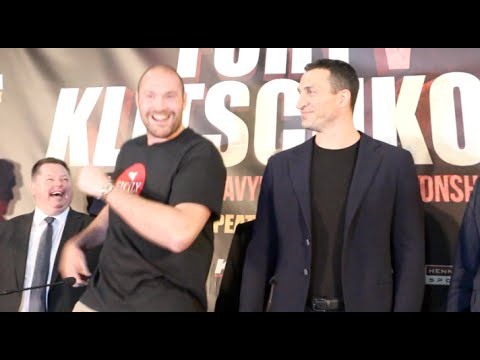 TYSON FURY DANCES IN FRONT OF & TORMENTS WLADIMIR KLITSCHKO AS PAIR ARE REUNITED IN MANCHESTER