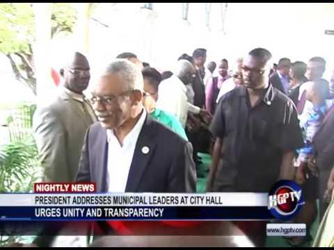 PRESIDENT ADDRESSES MUNICIPAL LEADERS AT CITY HALL