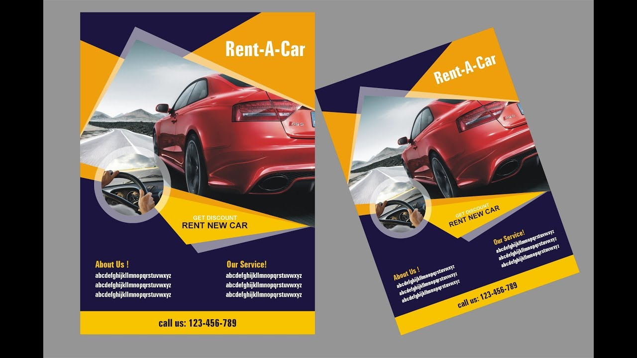automobile brochure design - coreldraw x6 tutorial car flyer design by ahsan sabri