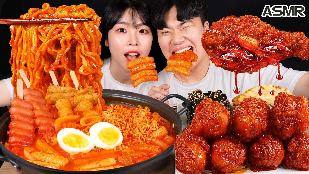 Download ASMR MUKBANG  직접 만든 떡볶이 양념치킨 김밥 먹방 & 레시피 FRIED CHICKEN AND Tteokbokki EATING