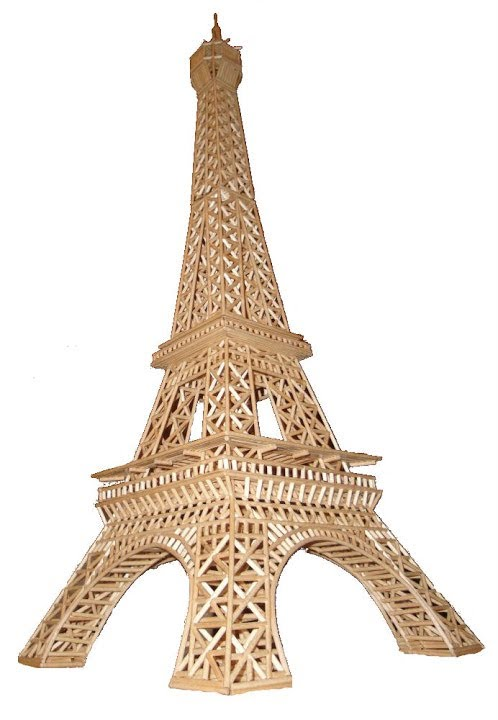 Build your own eiffel tower from matchsticks wooden for Eiffel tower model template